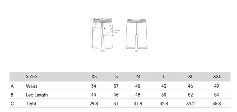 SIZING GUIDE SHORT THIAGO