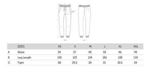 SIZING CHART FOR MARCELO PANT