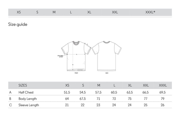 RELAXED FIT SIZING CHART