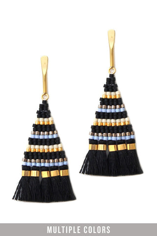 24k gold tassel black earrings