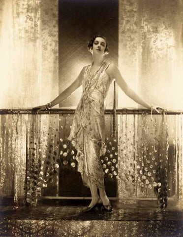 Adolph de meyer vintage fashion photograph in the public domain of golden dress