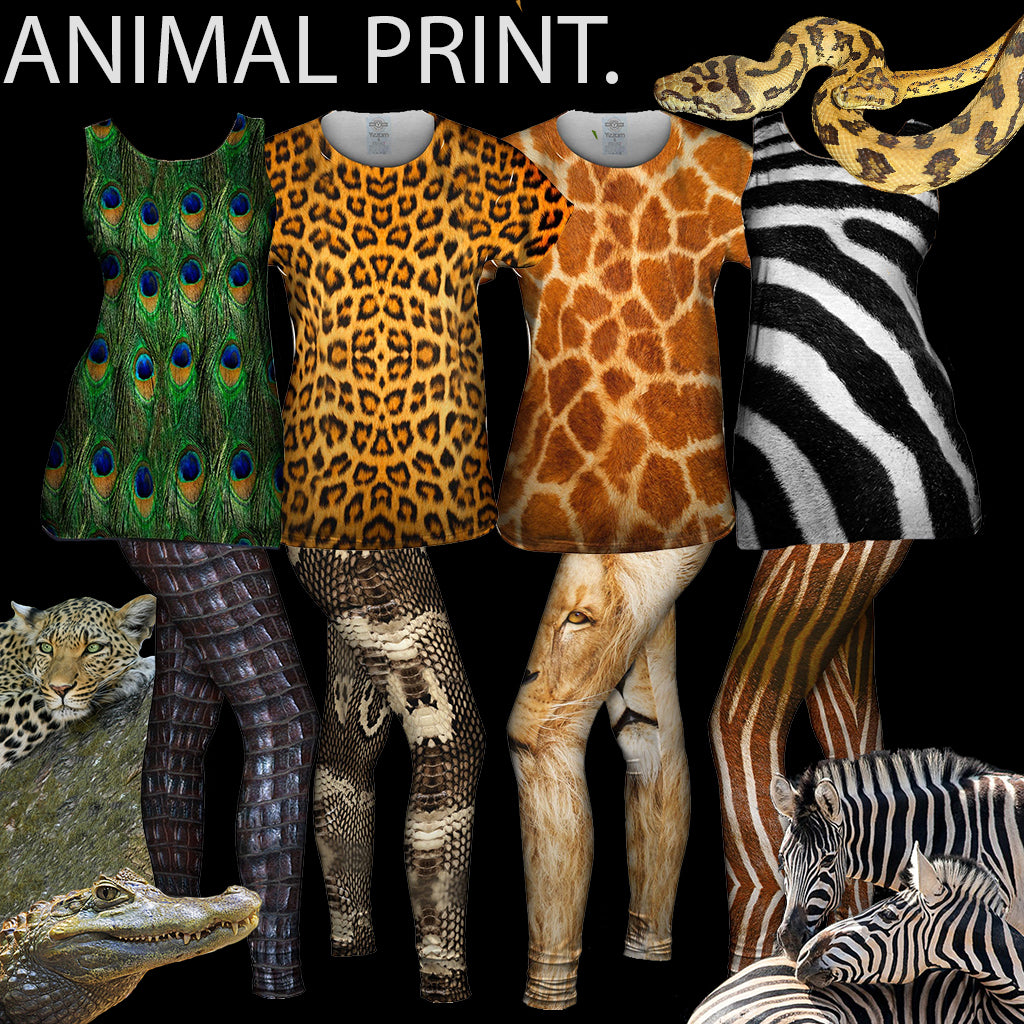 animal prints sustainable fashion collage trend t shirts leggings