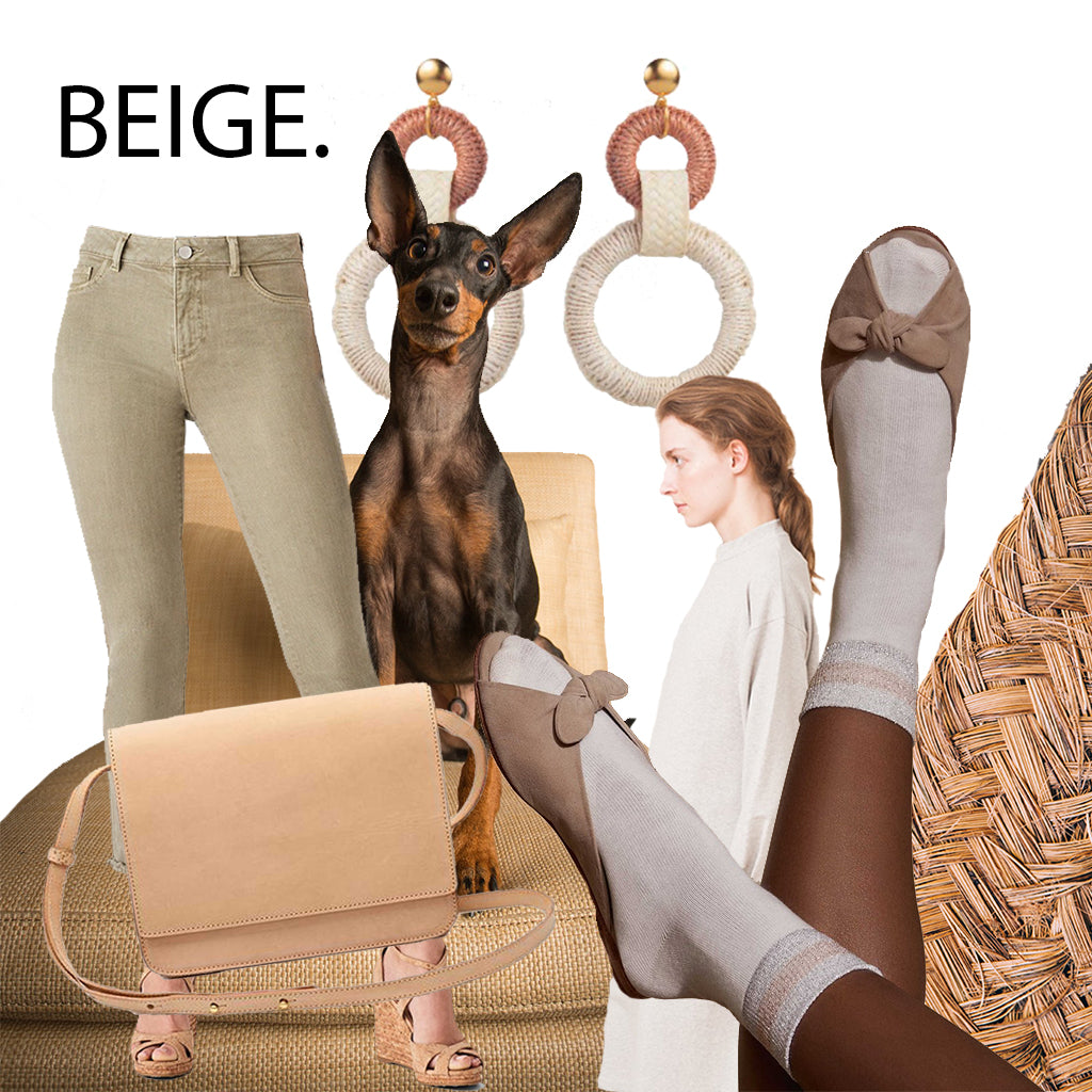 beige sustainable fashion summer trend jeans bag dress earrings handmade shoes