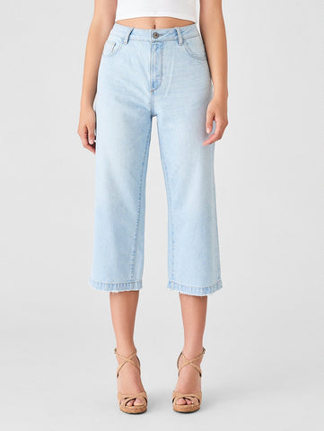 cropped simple wide leg high rise light blue jeans
