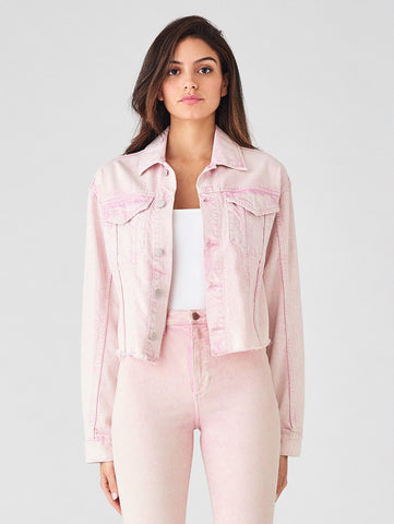 acid pink cropped denim jacket