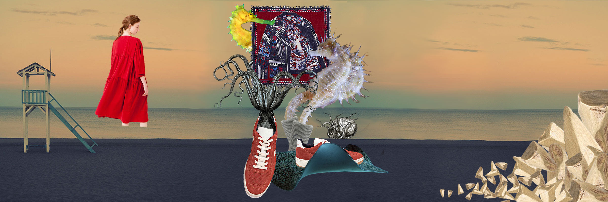 sustainable fashion collage sea monsters veja sneakers beach