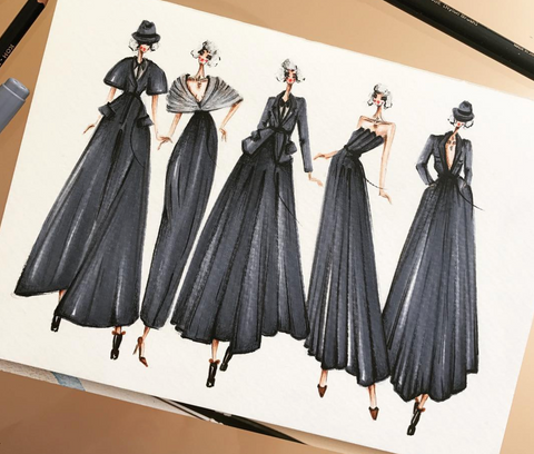 professional fashion illustration all black ladies