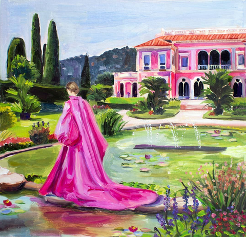 fashion painting aristocratic lady in mansion garden in pink robe