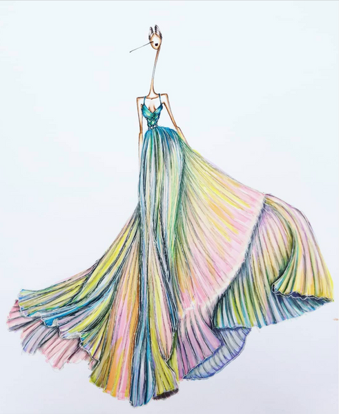 fashion illustration colorful dress