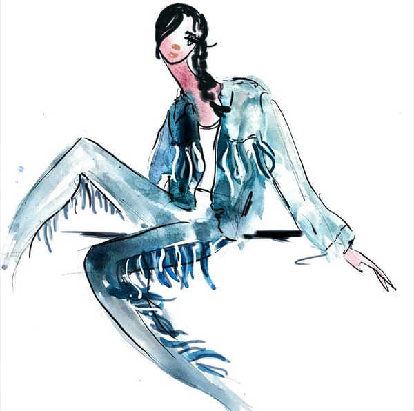 fashion illustration denim outfit