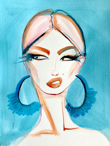 fashion illustration fabulous woman portrait