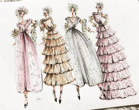 fashion illustration dresses vintage professional