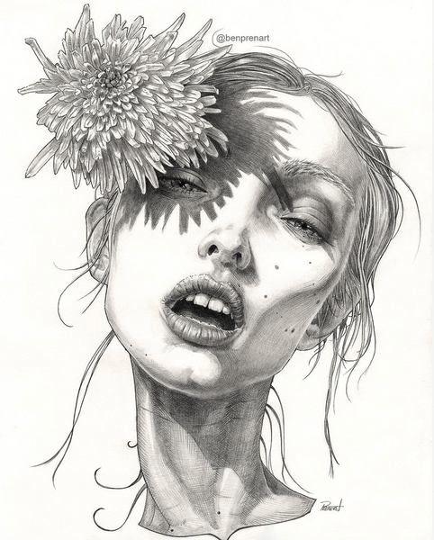 fashion illustration girl pencil black and white flower