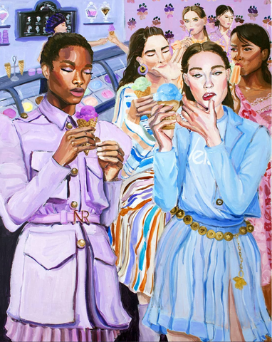 fashion illustration ladies eating ice cream pastel colors