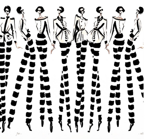 fashion illustration black and white stripes long legs professional