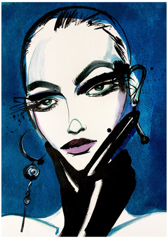 badass woman portrait fashion illustration
