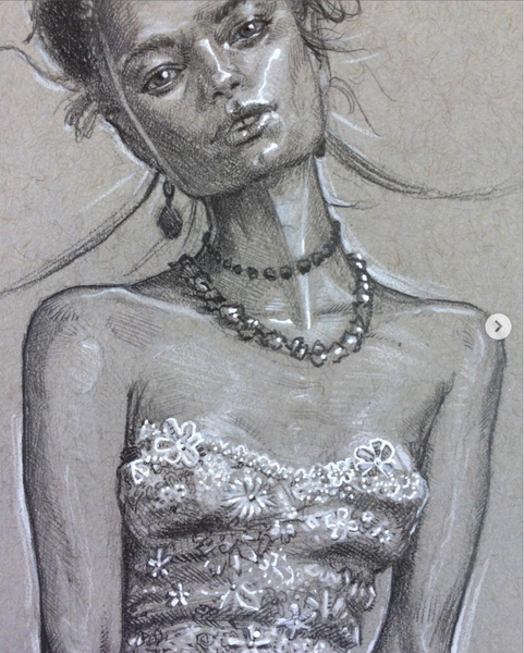 fashion illustration silver dress