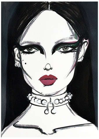 fashion illustration woman portrait choker