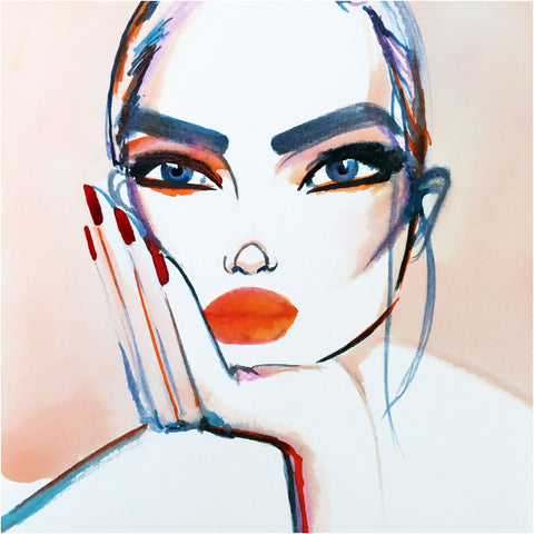 fashion illustration woman portrait simple
