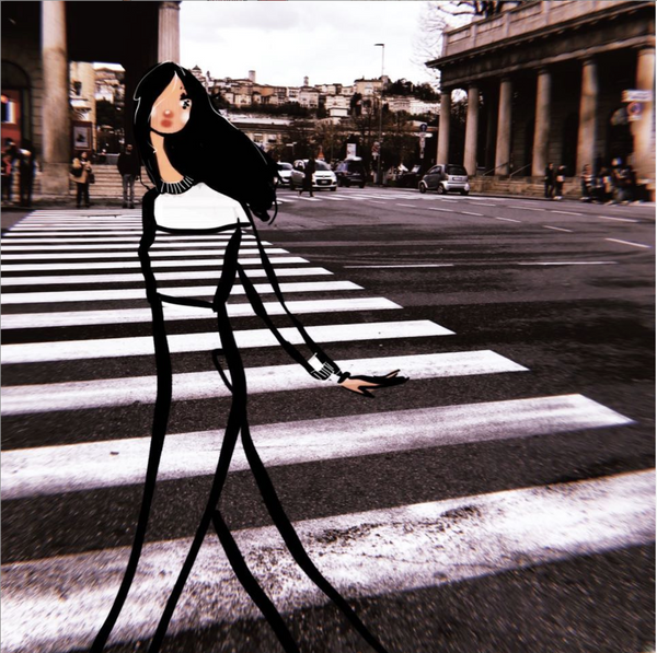 fashion illustration zebra crosswalk