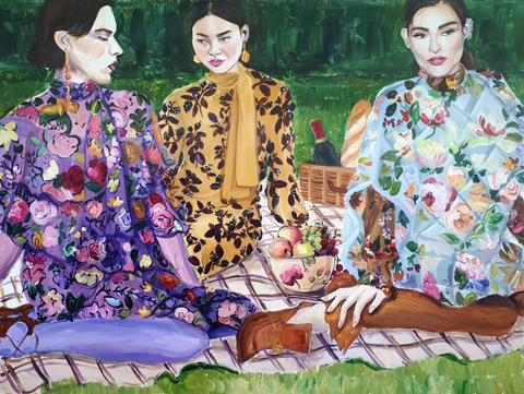 ladies fashion illustration picnic with robes in floral patterns
