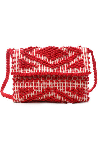 handwoven italian clutch bag red