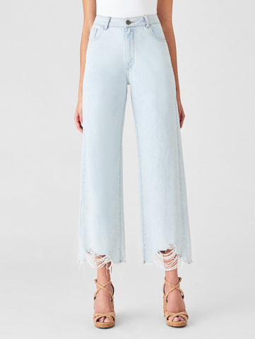 high rise wide leg ripped light blue jeans