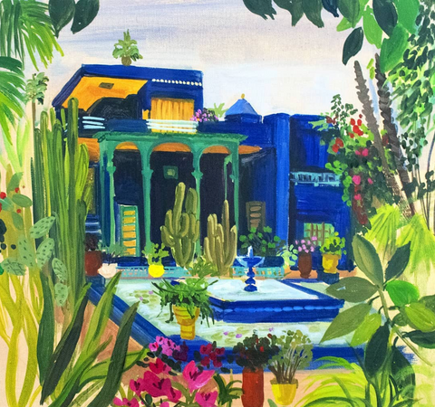 fashion painting vivid colors fountain garden with plants