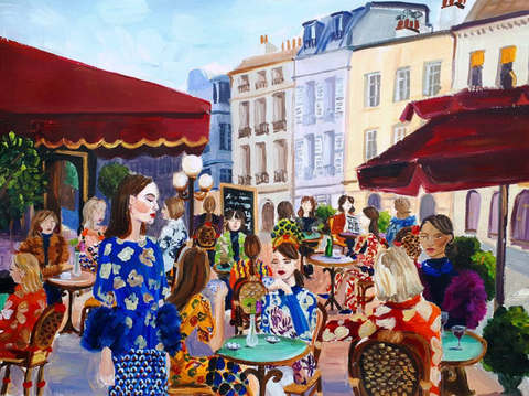 painting fashion people having lunch in town