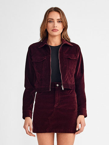 dark red velvet cropped jacket