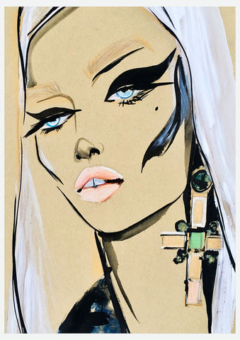 fashion illustration versace woman portrait