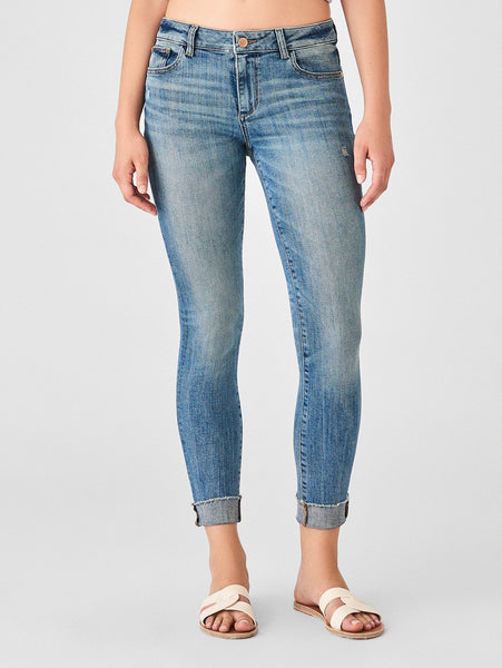 ankle skinny mid rise mid indigo wash jeans