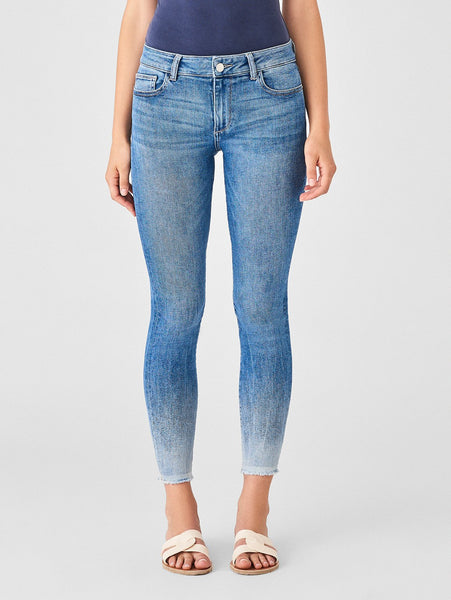 subtle ombre wash skinny ankle mid rise blue jeans