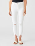 white knee ripped ankle high rise jeans