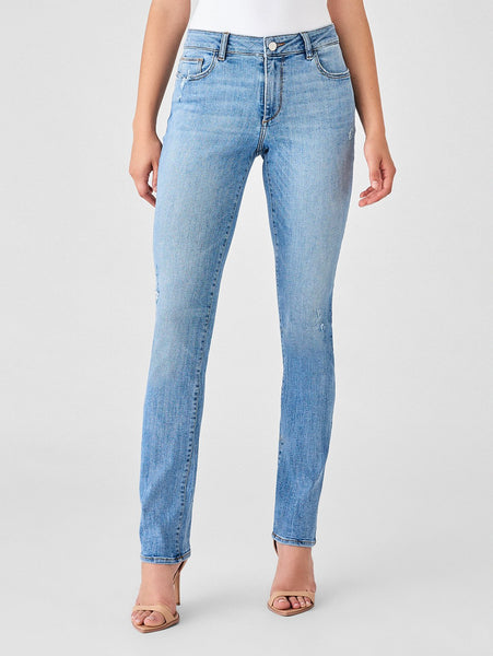 mid rise straight light blue cotton jeans sustainable