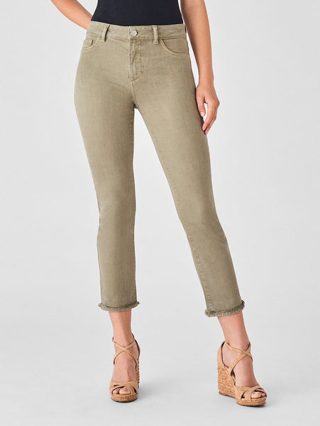 high rise straight jeans in khaki ivory sustainable