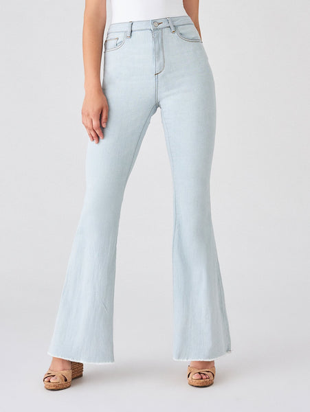 full length light blue cotton flare jeans sustainable