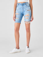 ripped bermuda jeans cotton sustainable