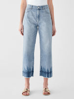 high rise wide leg vintage feel blue jeans