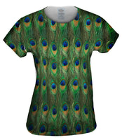 peacock feathers print womens t shirt