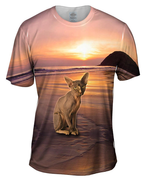 sphynx cat beach sunset print mens t shirt