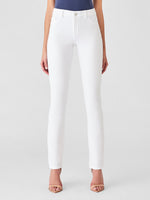 pure white straight mid rise jeans