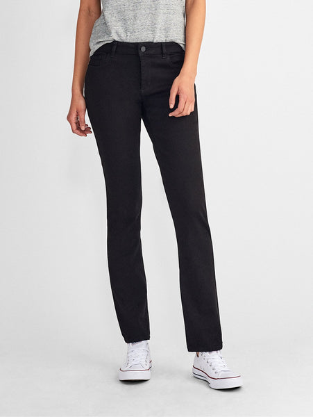 black tencel mid rise straight jeans