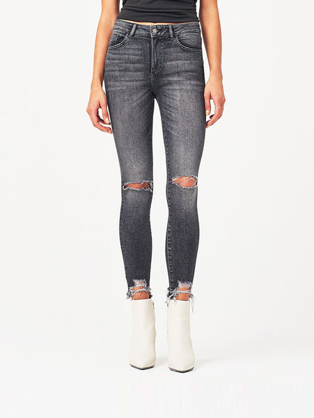 ankle high rise washed-out grey knee ripped ravaged hem jeans