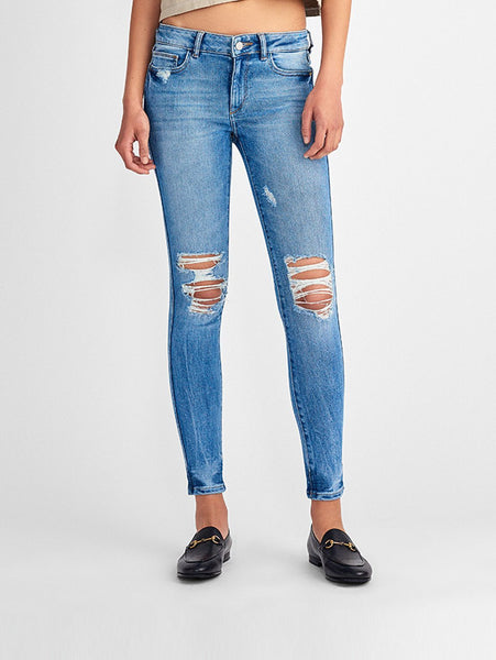 low rise skinny knee ripped blue jeans sustainable