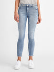 studded blue skinny mid rise ankle slightly ripped jeans