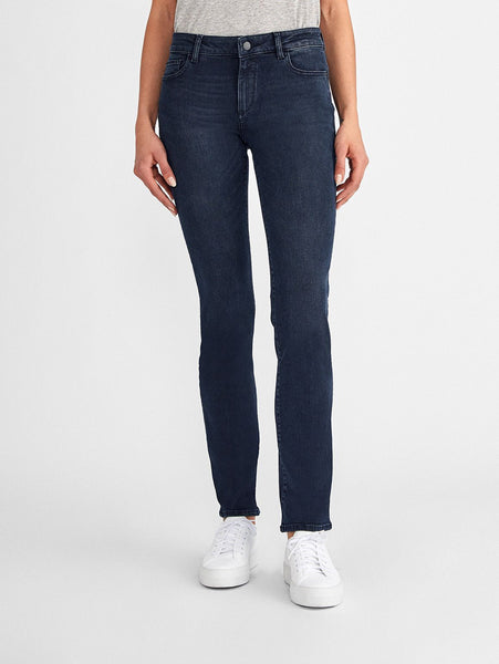 dark blue mid rise straight jeans