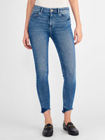 ankle high rise skinny mid-to-light tack wash blue jeans