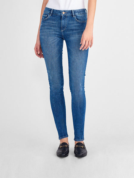 clean sanded mid rise tall skinny blue jeans