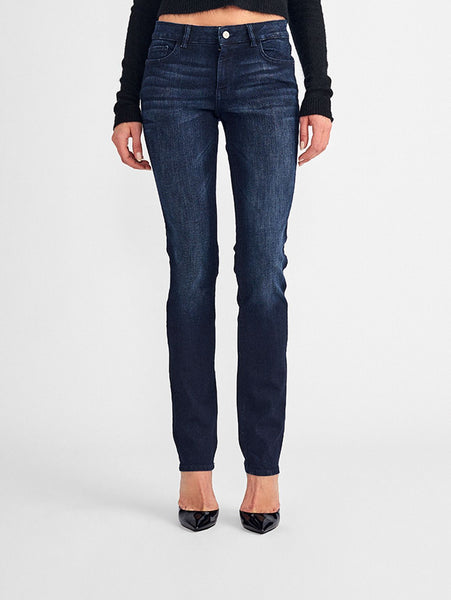 mid rise straight dark blue jeans
